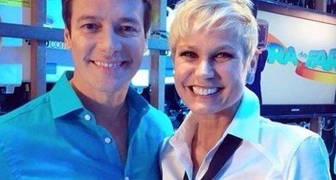 Xuxa e Rodrigo Faro gravam chamada de novo programa na Record