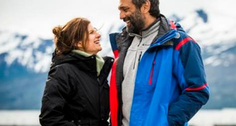 Débora Bloch e Domingos Montagner gravam novela na Patagônia