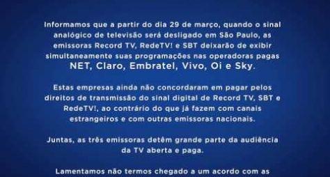 Fim do sinal analógico tira RedeTV!, Record e SBT das TV por assinaturas