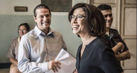 Fernanda Torres e Marcelo Serrado gravam Sob Pressão