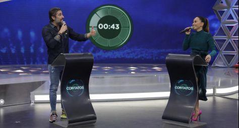 Sabrina Sato recebe Marcos Mion na estreia de Contatos