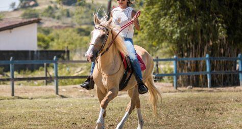 """Atores de """"A Dona do Pedaço"""" têm aulas de equitação"""