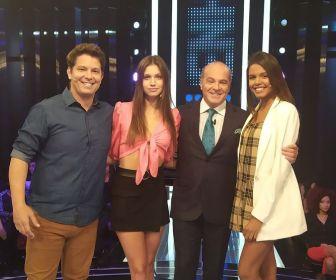 """Mario Frias e as modelos Maura Maurer e Flávia Barros participam do """"Mega Senha"""""""