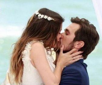 Vitória Strada e Bruno Ferrari gravam cenas de casamento