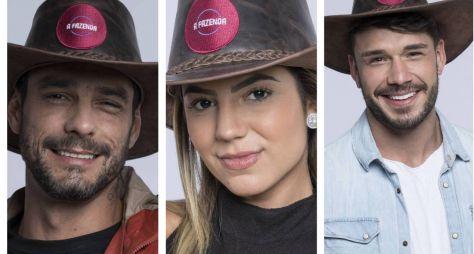 Finalistas do reality A Fazenda 11: Diego Grossi, Hariany Almeida e Lucas Viana