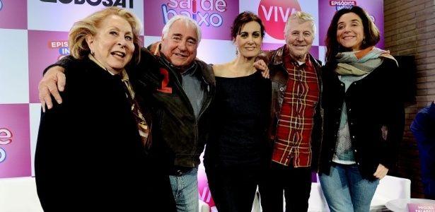 O elenco do Sai de Baixo reunido na coletiva. Foto: Divulgação