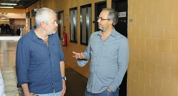 Lombardi conhecendo os estúdios do RecNov. Foto: Divulgação