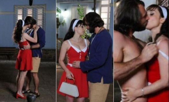 Simone Spoladore e Fernando Pavão em cenas calientes de Pecado Mortal