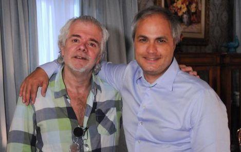 Carlos Lombardi ao lado do diretor geral Alexandre Avancini. Foto: Divulgação