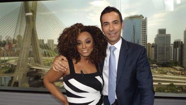 Paula Lima e César Tralli no SPTV (Divulgação)