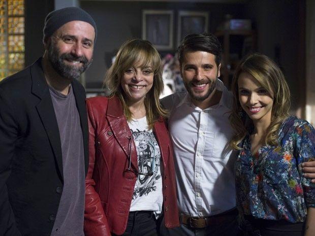 Mauro Mendonça Filho, Glória Perez, Bruno Gagliasso e Débora Falabella. Foto: Divulgação/TV Globo