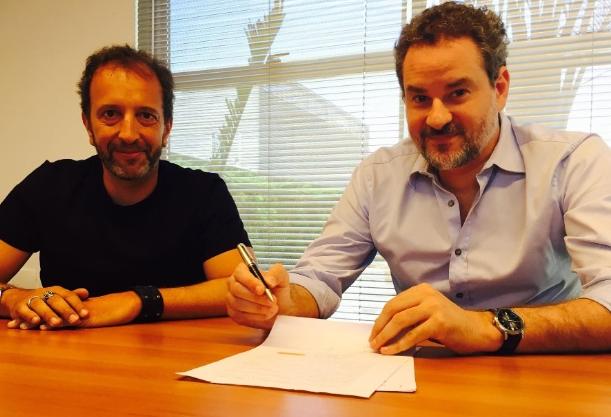O diretor artístico e de programação da Band Diego Guebel e Dan Stulbach (à direita). Foto: Divulgação