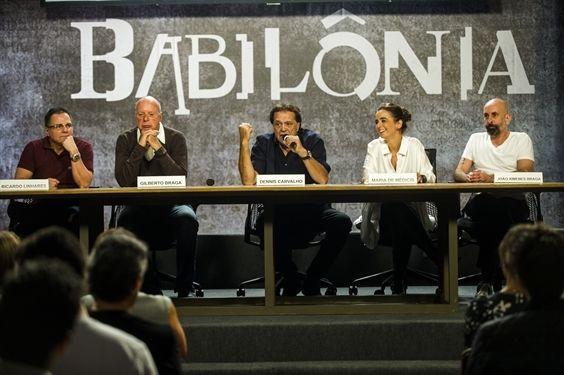 Autores e diretores de Babilônia em coletiva. Foto: Divulgação/TV Globo