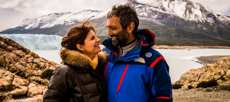 Débora Bloch e Domingos Montagner, na Patagônia argentina (Foto: João Miguel Jr./TV Globo)