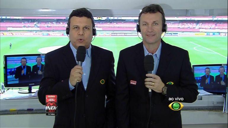Téo José e Neto durante transmissão (Foto: Reprodução/Band)