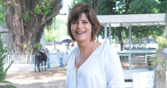 Cristianne Fridman na coletiva de Vitória, em maio do ano passado. Foto: Divulgação/TV Record