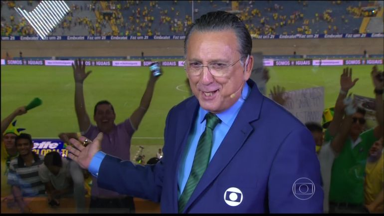 Galvão Bueno durante jogo na Copa do Mundo (Foto: Reprodução/TV Globo)