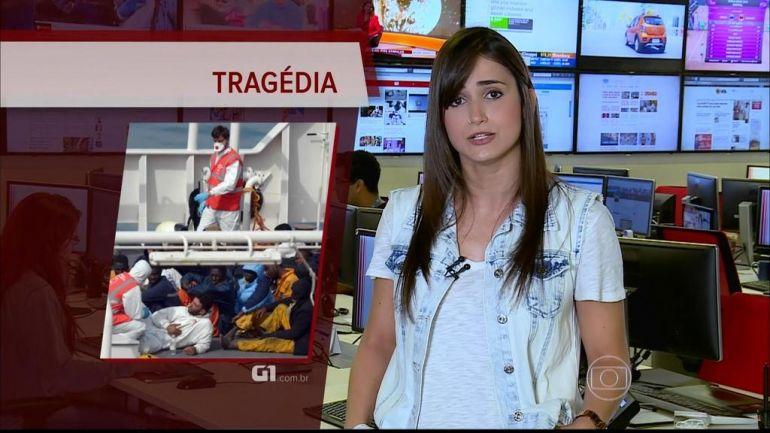Mariana Palma durante apresentação do boletim do G1 (Foto: Reprodução/TV Globo)