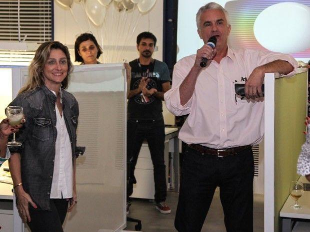 A diretora de núcleo Amora Mautner e o diretor Eduardo Figueira (Foto: Fabiano Battaglin/TV Globo)