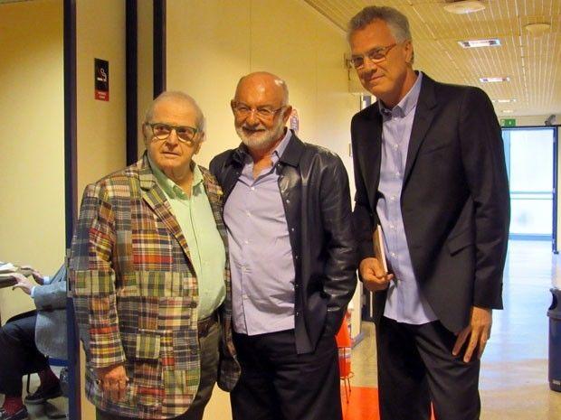 Pedro Bial ao lado dos convidados do programa, Jô Soares e Sílvio de Abreu (Foto: Paula Paiva/TV Globo)