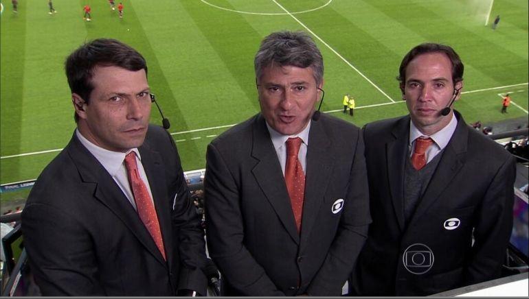 Leonardo Gaciba, Cléber Machado e Caio Ribeiro: trio principal de transmissão do torneio (Foto: Reprodução/TV Globo)