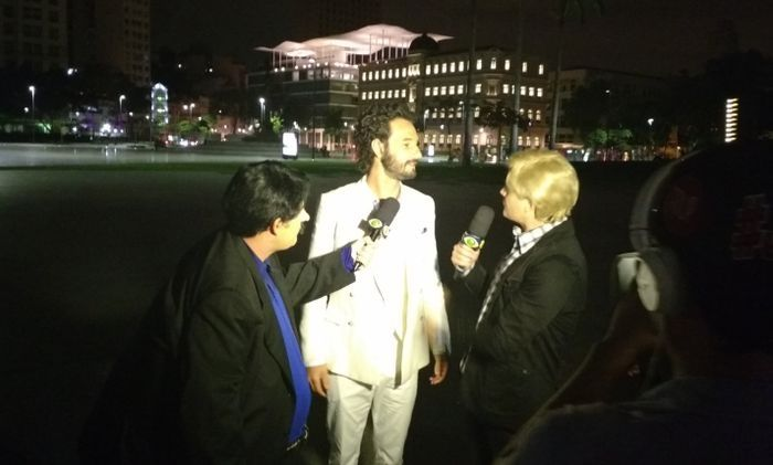 Pânico entrevistando Rodrigo Santoro. Foto: Jeferson Cardoso/OPTV