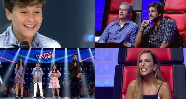 As caras e bocas do The Voice Kids. Foto: Reprodução/Globo