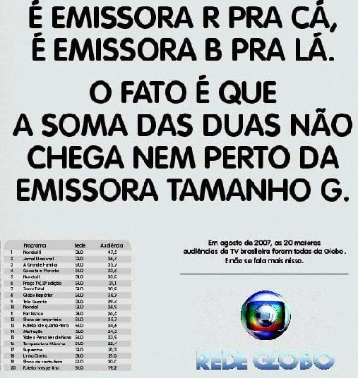 Veja anúncio da TV Globo debochando da disputa entre o SBT e Record